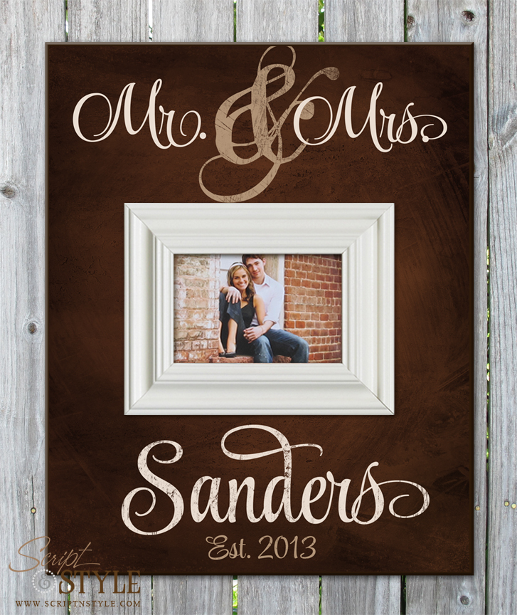 cream personalized mr mrs picture frame brown - Mr And Mrs Photo Frame