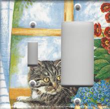 Silver Tabby Cat in Window - Double Combo Switch & GFI/Rocker