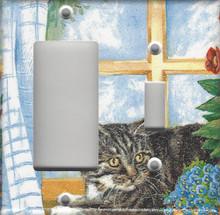 Silver Tabby Cat in Window - Double Combo GFI/Rocker & Switch