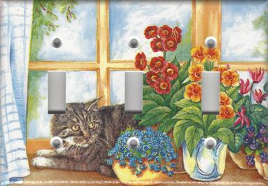 Silver Tabby Cat in Window - Triple Switch