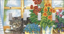 Silver Tabby Cat in Window - Quadruple Switch