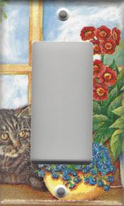 Silver Tabby Cat in the Window - GFI/Rocker