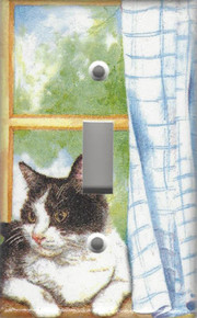Black & White Cat in Window - Single Switch
