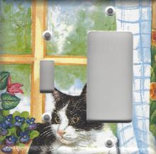 Black & White Cat in Window - Double Combo Switch & GFI/Rocker