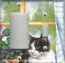 Black & White Cat in Window - Double Combo GFI/Rocker & Switch