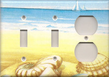 Blue and Yellow Shells - Triple Combo Switch & Switch & Outlet