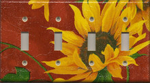 Sunflowers - Red - Quadruple Switch