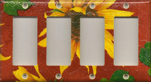 Sunflowers - Red - Quadruple GFI/Rocker