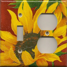 Sunflowers - Red - Double Combo Switch & Outlet