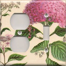 Pink Hydrangea - Double Combo Outlet & Switch