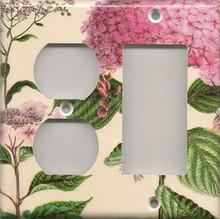 Pink Hydrangea - Double Combo Outlet & GFI/Rocker