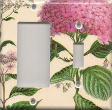 Pink Hydrangea - Double Combo GFI & Switch