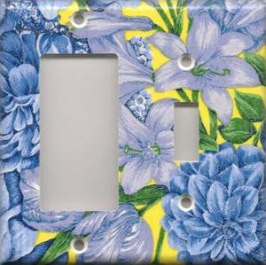 Blue yellow flowers double combo gfi switch switchplates by image 1 mightylinksfo