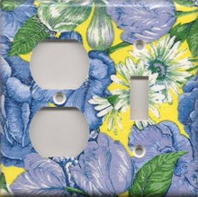 Blue & Yellow Flowers - Double Combo Outlet & Switch