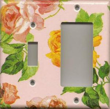 Roses - Pink - Double Combo Switch & GFI