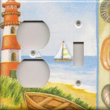 Red Lighthouse with Boats - Double Combo Outlet & Switch