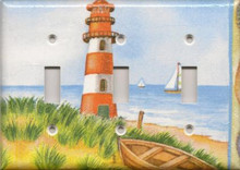 Red Lighthouse with Boats - Triple Switch