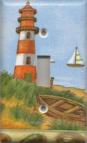 Red Lighthouse with Boats - Single Switch