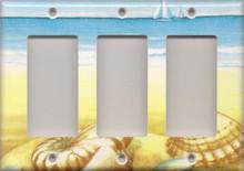 Blue and Yellow Shells - Triple GFI/Rocker