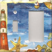 Red Lighthouse with Shells - Double Combo Switch & GFI