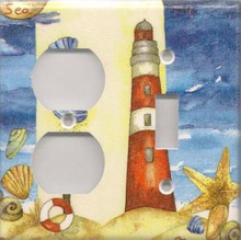 Red Lighthouse with Shells - Double Combo Outlet & Switch
