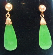 Vintage Jade Drop 14K Gold Post Earrings