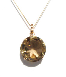 Round Smokey Topaz 14K Pendant with Gold Chain