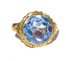 Vintage Swiss Blue Topaz 14k Gold Ring