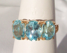 Vintage Blue Topaz Three Stone Ring