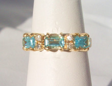 Vintage Blue Topaz Three Stone Band