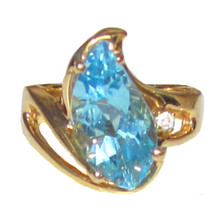 Vintage Fancy Cut Blue Topaz Ring