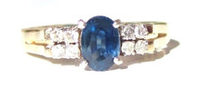 Vintage  Blue Sapphire and Diamond Ring