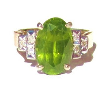 Vintage Peridot & Diamond Ring