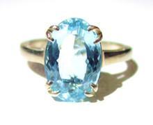 Vintage Aquamarine Solitaire 14K Ring
