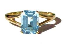 Vintage Aquamarine Emerald Cut Ring
