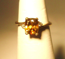Sphene & Diamond Ring