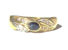 Vintage Blue Sapphire and Diamond 14K Ring