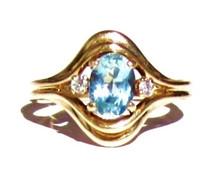 Vintage Aquamarine & Diamond 14K Ring