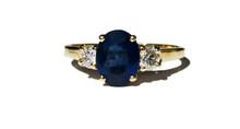 Blue Sapphire & Diamond Ring