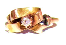 Antique Diamond Bow Rose Gold Ring
