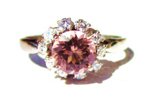 Vintage Pink Tourmaline & Diamond Ring