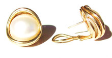Vintage Mabe Pearl 14K Gold Earrings