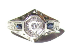 Art Deco Diamond Sapphire Engagement Ring 18K