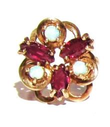 Vintage Opal and Garnet Ring