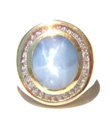 Ceylon Blue Star Sapphire & Diamond Ring