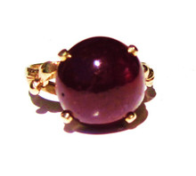 Vintage Round Cabochon Ruby 14K Ring