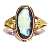 Vintage Black Cameo Ring