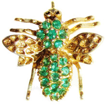 Vintage Emerald Bumble Bee Pendant/Brooch