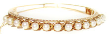Solid 14K Gold & Pearl Bangle Bracelet