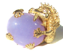 Solid Gold Lavender Jade & Diamond Dragon Ring
